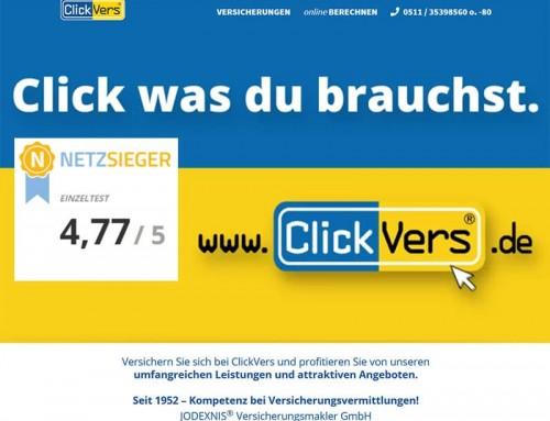 ClickVers.de mit 4,77 von 5 Pkt im Netzsieger-Einzeltest